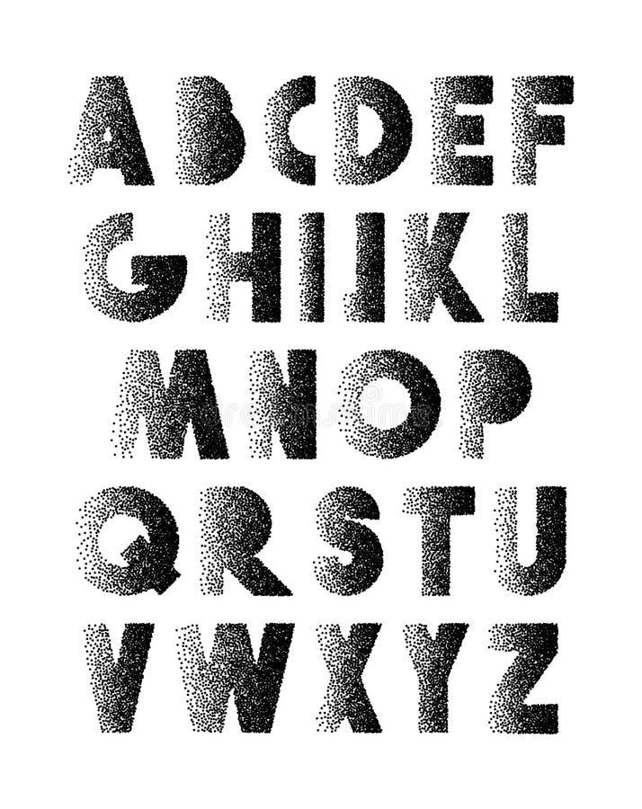 Stipple retro de la fuente Alfabeto retro Letras negras que graban el punto ilustración del vector