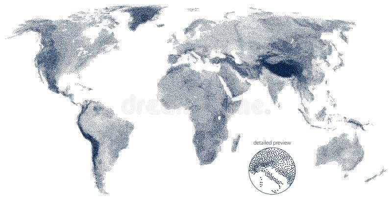 Stippled światowa reliefowa wektorowa mapa ilustracji