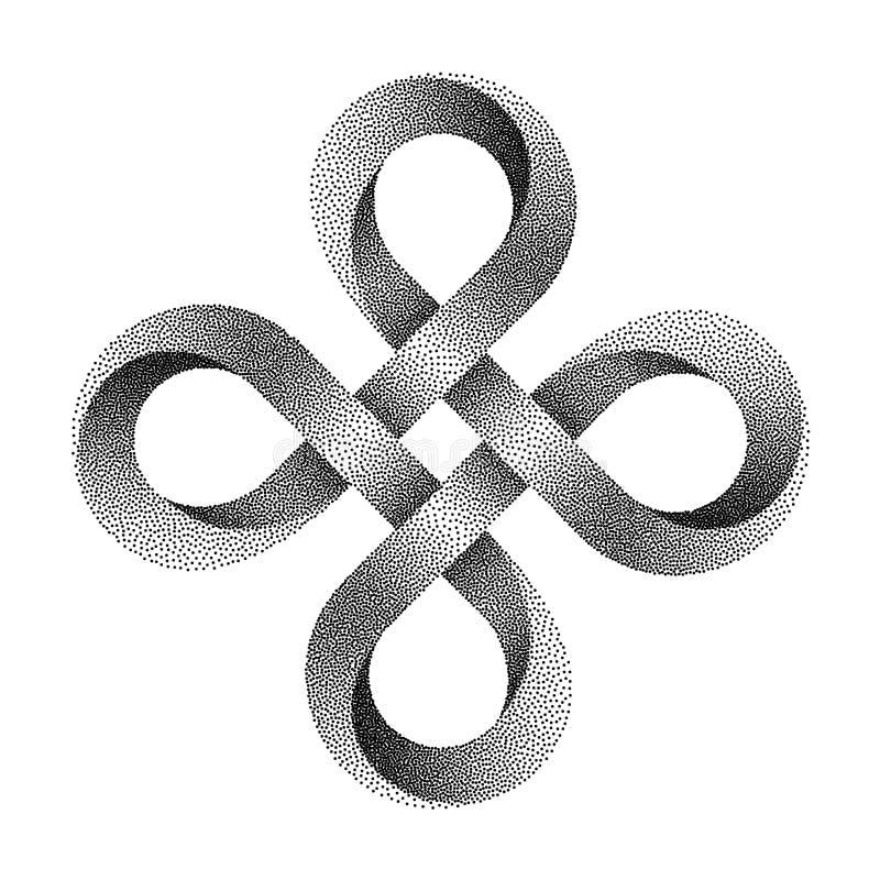 Stippled Bowen cross symbol made of mobius strip. Vector textured illustration. Stippled Bowen cross symbol. Ancient celtic sign made of mobius strip. Vector stock illustration