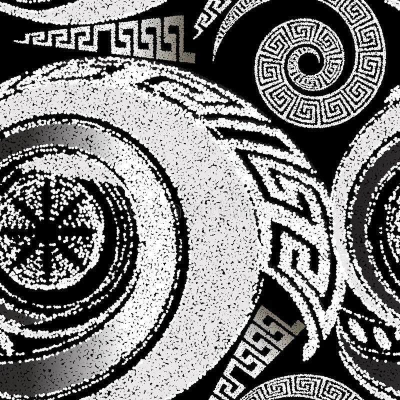 Stippled halftone black and white geometric seamless pattern. Dotted ornamental greek background. Repeat abstract modern. Backdrop. Textured ornament with stock illustration