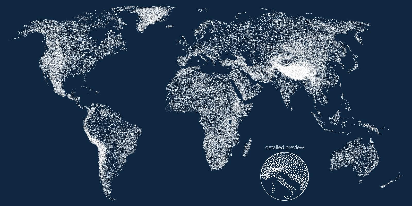 Stippled world relief vector map royalty free illustration