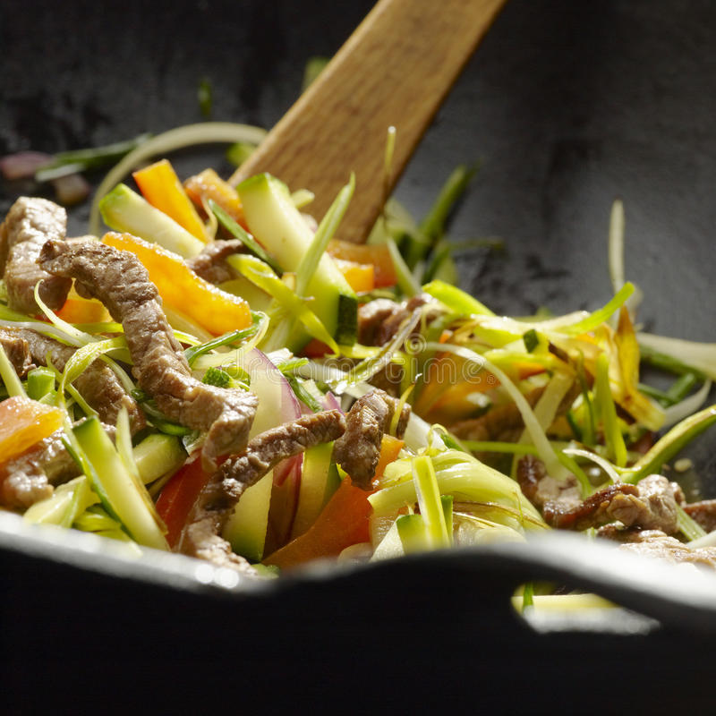 Stir fried. Vegetabels with beef slices royalty free stock photos