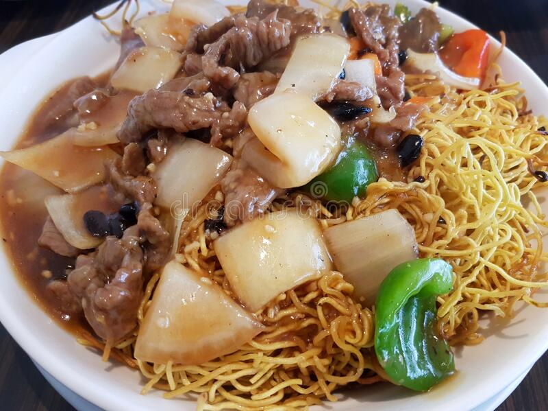 Stir Fried Beef en Noodles stock fotografie