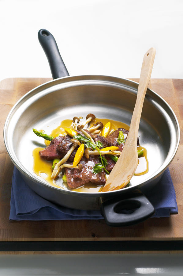 Stir fried Beef slices stock image