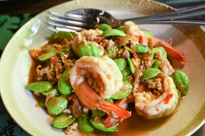Stir fried bitter bean with shrimp. Southern Thai food royalty free stock image