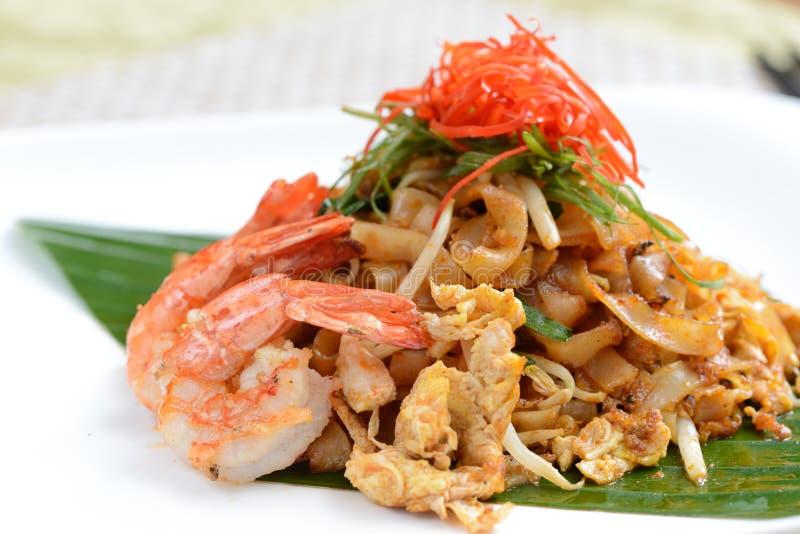 Stir fried char kuey teow. Close-up stir fried char kuey teow royalty free stock photo