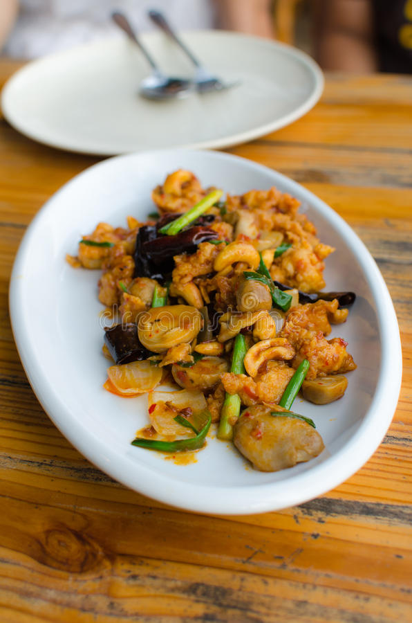 Stir-fried Chicken with cashew nuts royalty free stock images
