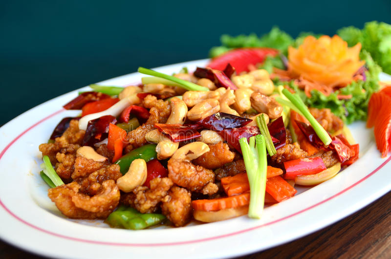 Stir-fried chicken with cashew nuts. Delicious Thaifood royalty free stock photo