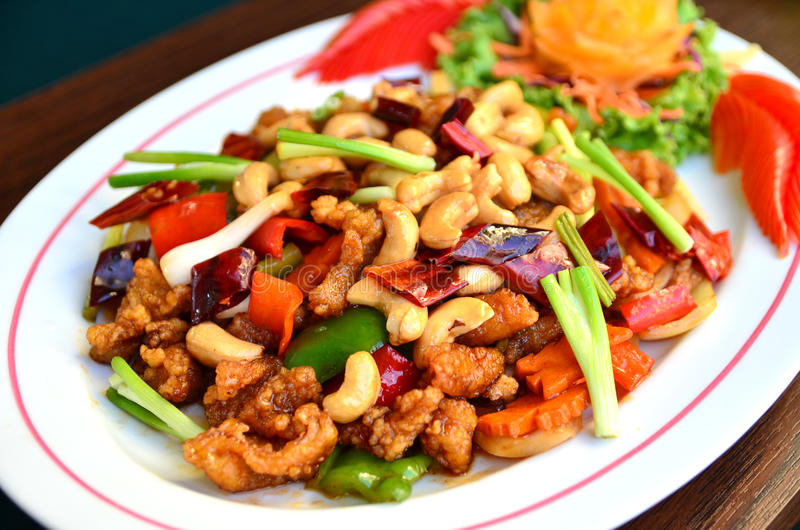 Stir-fried chicken with cashew nuts. Delicious Thaifood royalty free stock photos