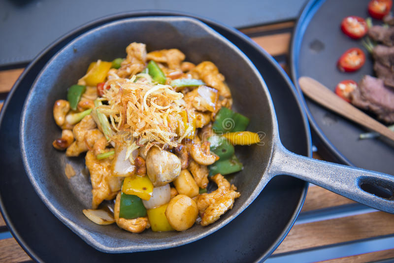 Stir fried chicken with cashew nuts. Food stock photo