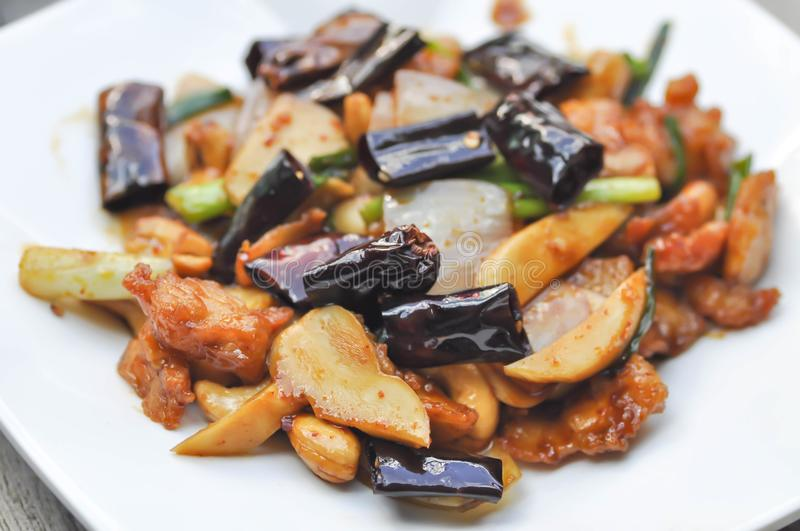 Stir-Fried Chicken with Cashew Nuts. Thai food royalty free stock photo