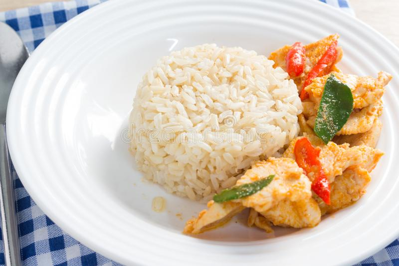 Stir fried chicken whit basil on rice royalty free stock photography