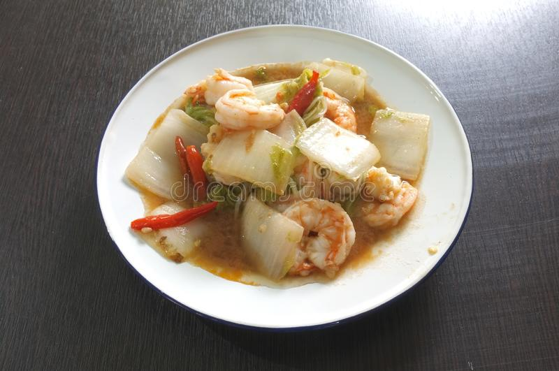 Stir fried chinese cabbage with shrimp.  stock photo