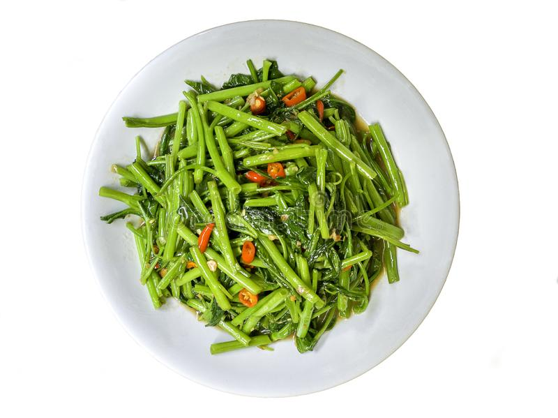 Stir-Fried Chinese Morning Glory royalty free stock image