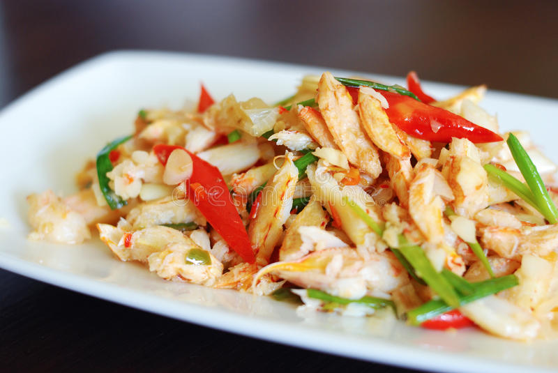 Stir fried crab meat. With lime juice close up Thai food royalty free stock image