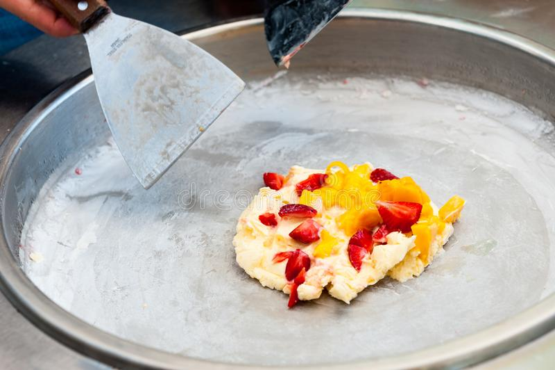 Stir-fried ice cream stock photography