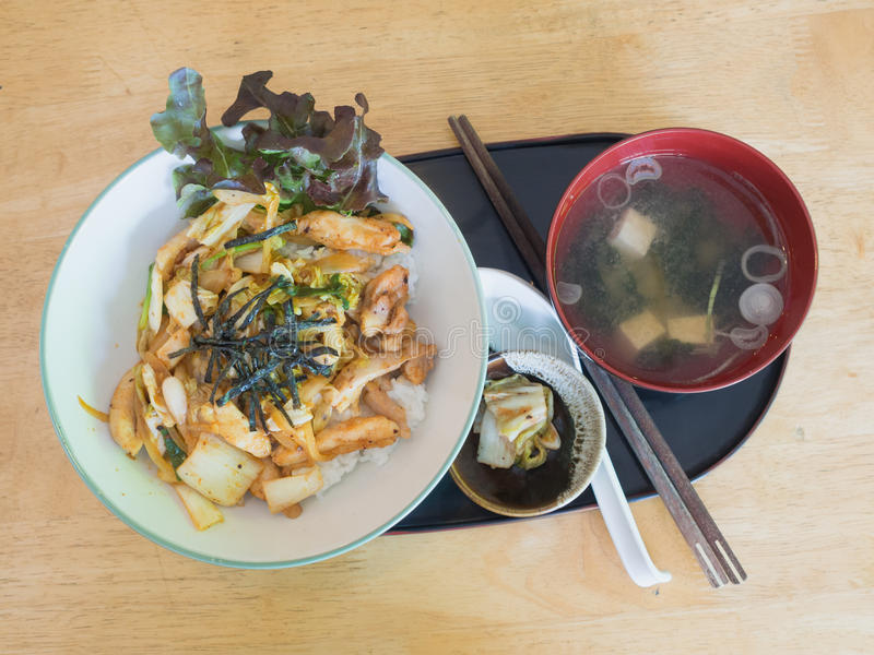 Stir-fried kimchi pork with rice royalty free stock photography