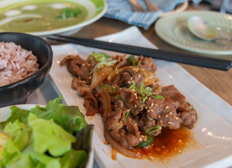 Stir fried korean pork dish royalty free stock image