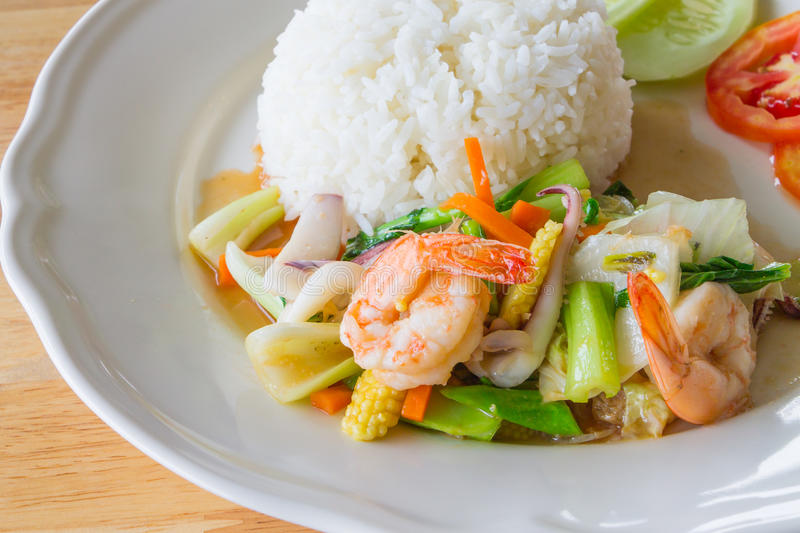 Stir fried mixed vegetables with seafood. Thai food royalty free stock images