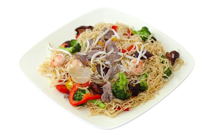 Stir-Fried Noodle. Stir fired noodle with beef, shrimp and vegetables stock images