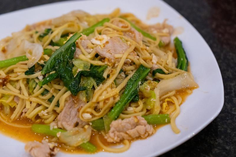 Stir fried noodle with pork Khmer style royalty free stock photos