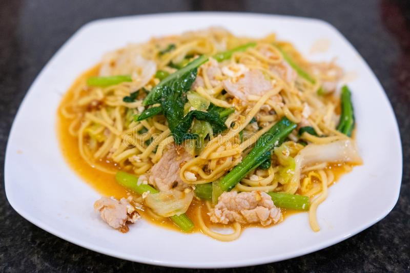 Stir fried noodle with pork Khmer style stock photography
