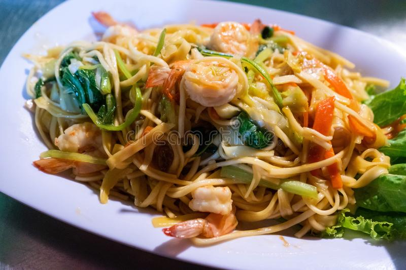 Stir fried noodle with shrimp Khmer style royalty free stock images