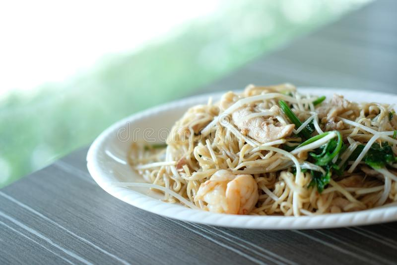 Stir fried noodle vegetable & shrimp. chinese food royalty free stock photos