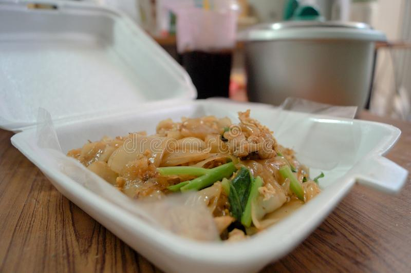 Stir fried noodles with soy sauce. royalty free stock photos