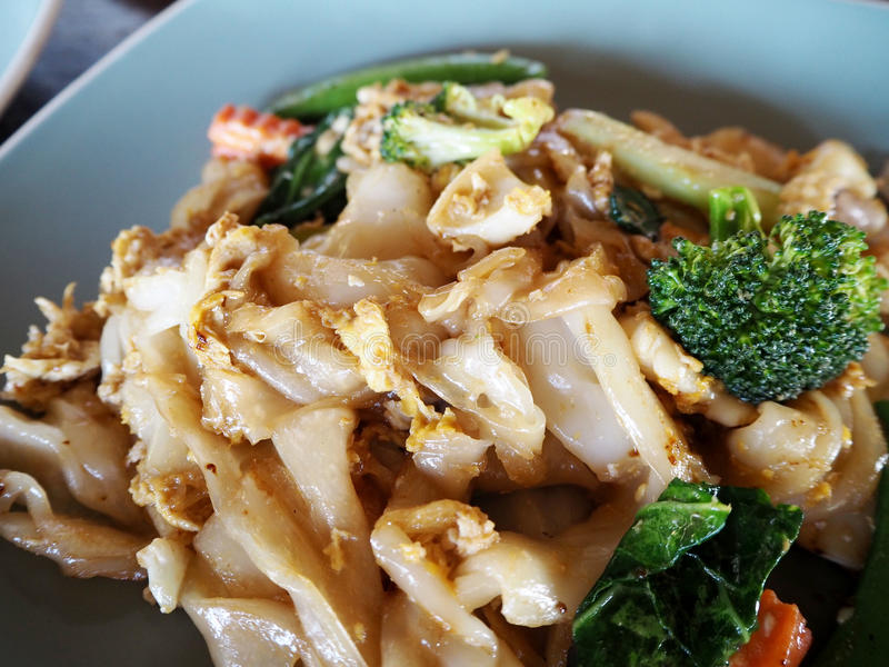 Stir-fried Noodles in Sweet Soy Sauce with Pork royalty free stock photo