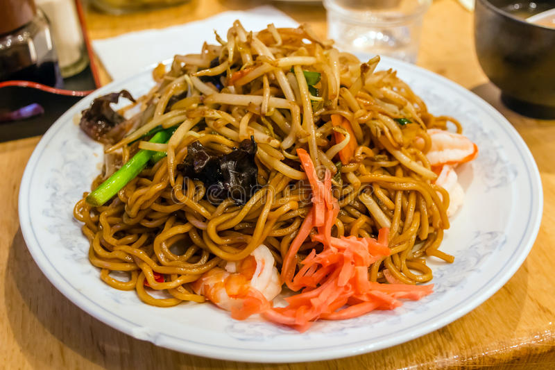 Stir fried noodles, Yakisoba royalty free stock photography