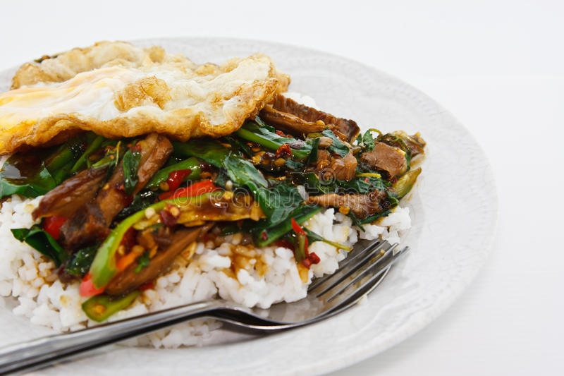 Stir fried pork with basil and egg served with rice. On isolated royalty free stock photos