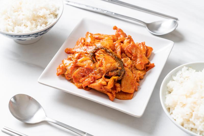 Stir-fried pork with kimchi. Korean food style royalty free stock images