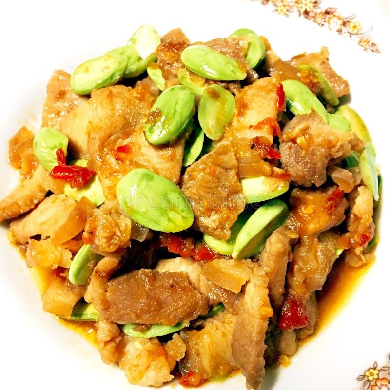 Stir fried pork. Stir and SAO fried pork stock image