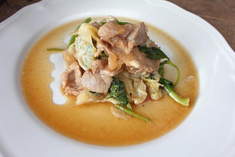 Stir fried pork with white cabbage. In thaifood stock image