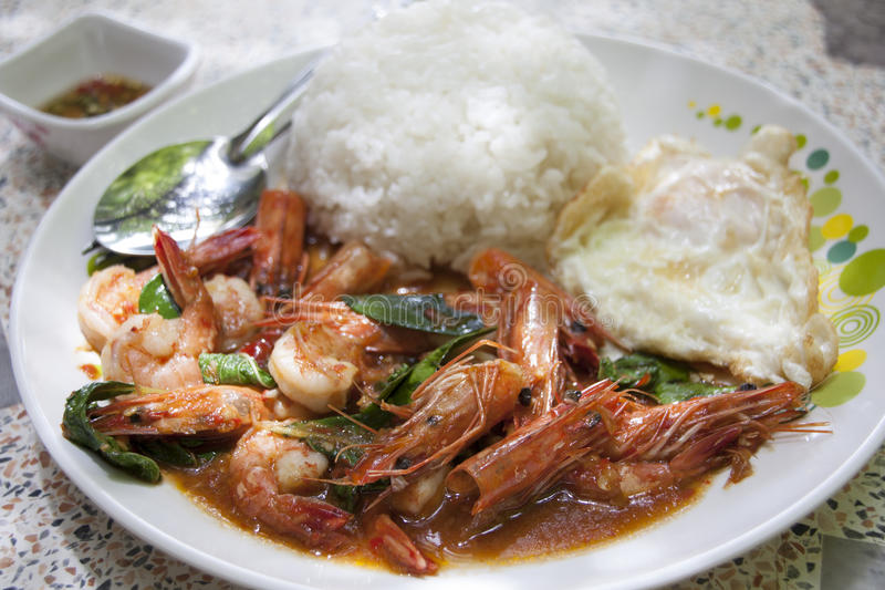 Stir-fried prawns royalty free stock photos