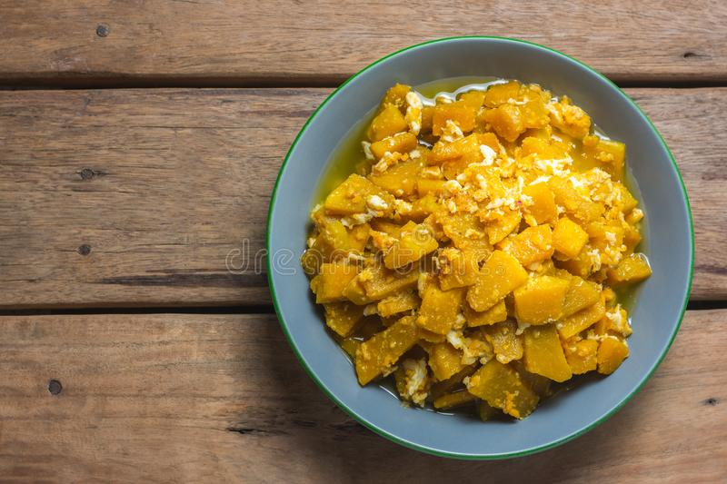 Top View of Stir Fried Pumpkin with Egg. thai recipe. royalty free stock photography