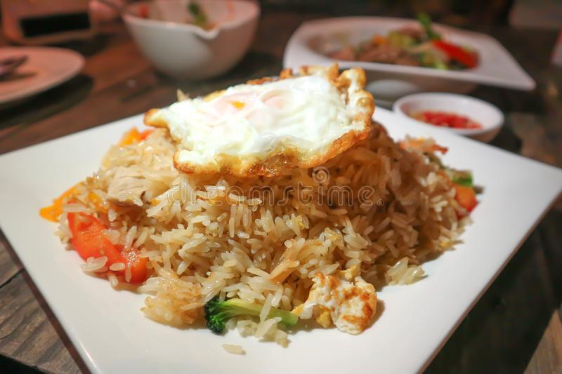 Stir-fried ric with fried egg. Thai food royalty free stock photography