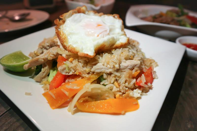 Stir-fried ric with fried egg. Thai food royalty free stock image