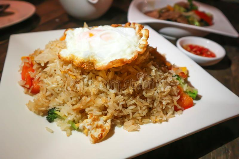 Stir-fried ric with fried egg. Thai food stock photos