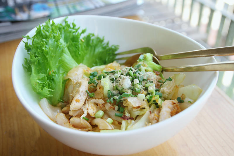 Stir-fried rice noodle with chicken. Thaifood royalty free stock photos