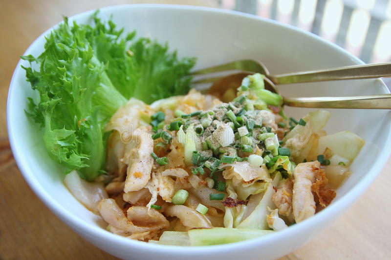 Stir-fried rice noodle with chicken. Thaifood stock photo