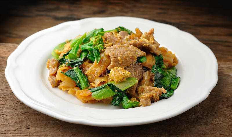Stir Fried Rice Noodle. With pork royalty free stock images