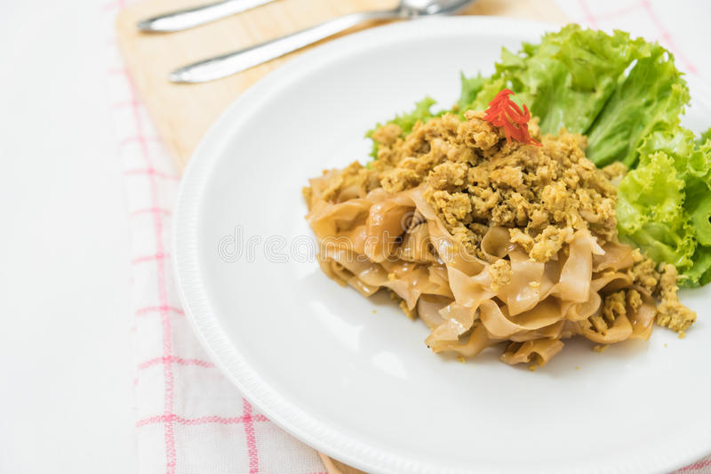 Stir fried rice noodle with pork (Pad See Eiw).  stock photography