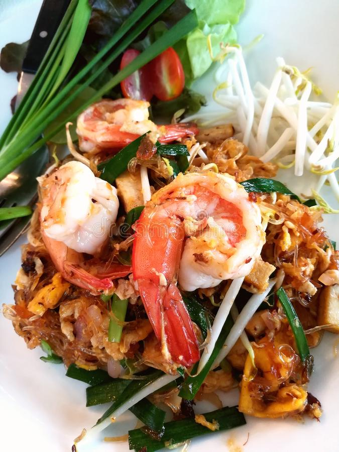 Fried Rice Sticks with Shrimp or Pad Thai Goog Sod. Stir Fried Rice Noodle with Shrimp, popular Thai food royalty free stock image