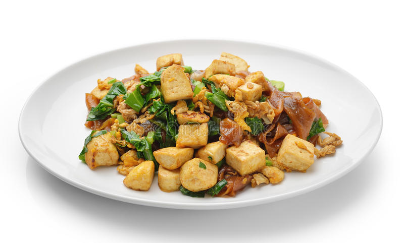 Stir Fried Rice Noodle with tofu stock photography