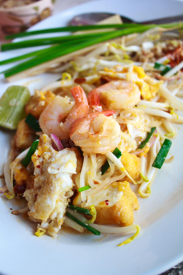 Stir-fried rice noodles (Pad Thai ). royalty free stock image