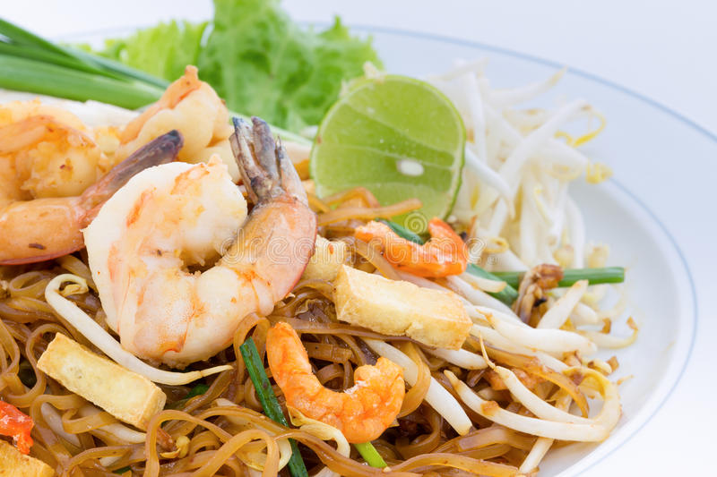 Stir-fried rice noodles (Pad Thai) stock photos
