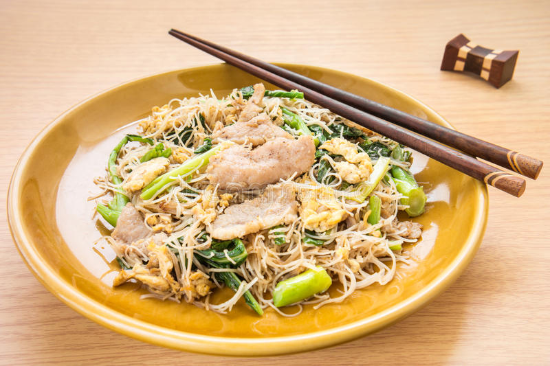 Stir fried rice noodles with pork (Pad See Eiw). Stir fried rice noodles with pork, (Pad See Eiw) stock images