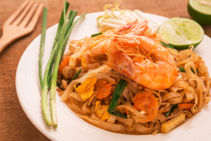 Stir fried rice noodles with shrimps, Pad Thai royalty free stock images